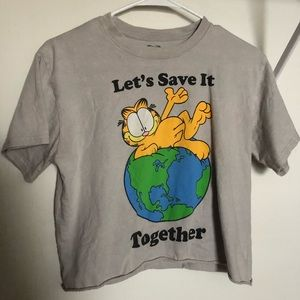 Lets save the earth cropped Garfield shirt